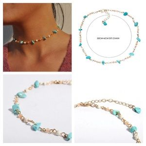 Jewelry - 🔆 Bohemian Stone Beaded Gold Blue Peach Choker
